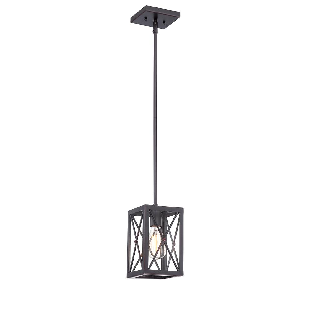 Pendant Lighting Home Decorators Collection 1 Light Royal Bronze Mini Pendant With Cage Design Shade