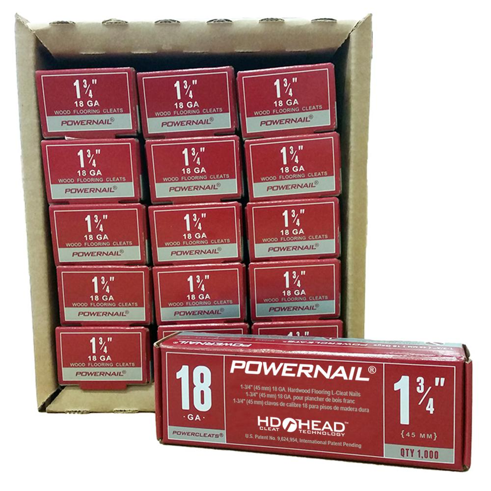 Plancher Home Depot Powernail Powercleats 1 3 4 In 18 Gauge Hardwood Flooring Nails 15 Boxes Of 1 000 15000 Pack