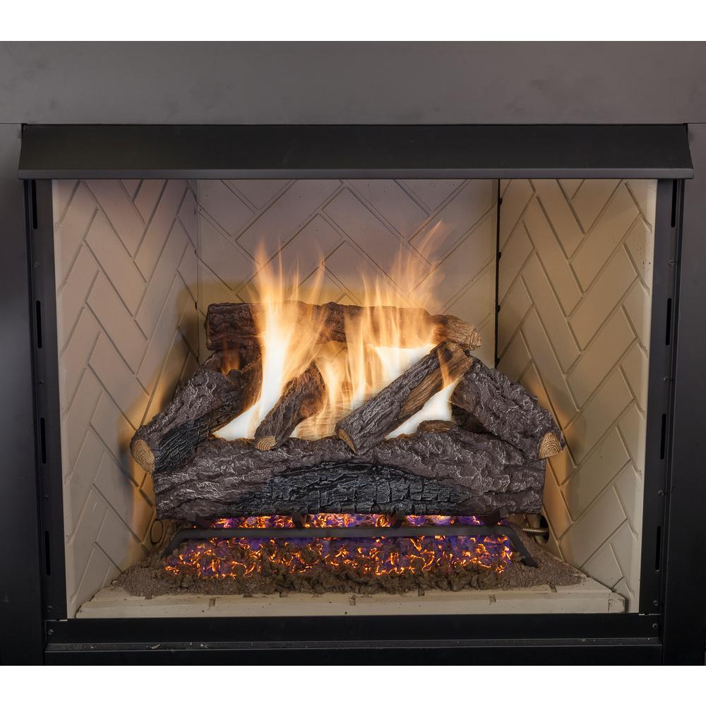 Gas Fireplace Facing 30 In Charred River Oak Vented Natural Gas Fireplace Logs Set