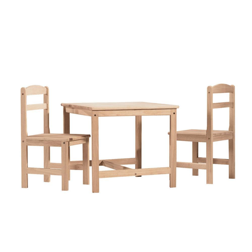 Childrens Table And Chair Set International Concepts 3 Piece Unfinished Children S Table And Chair Set