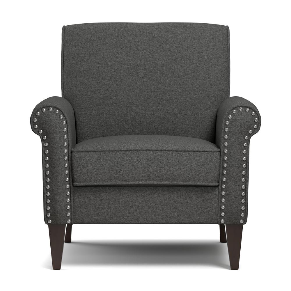 Arm Chairs Handy Living Jean Charcoal Gray Linen Arm Chair