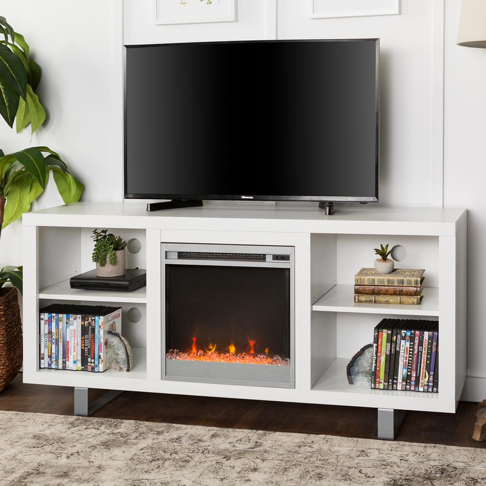 Modern Tv Walker Edison Furniture Company 58 In Simple Modern Fireplace Tv Console In White
