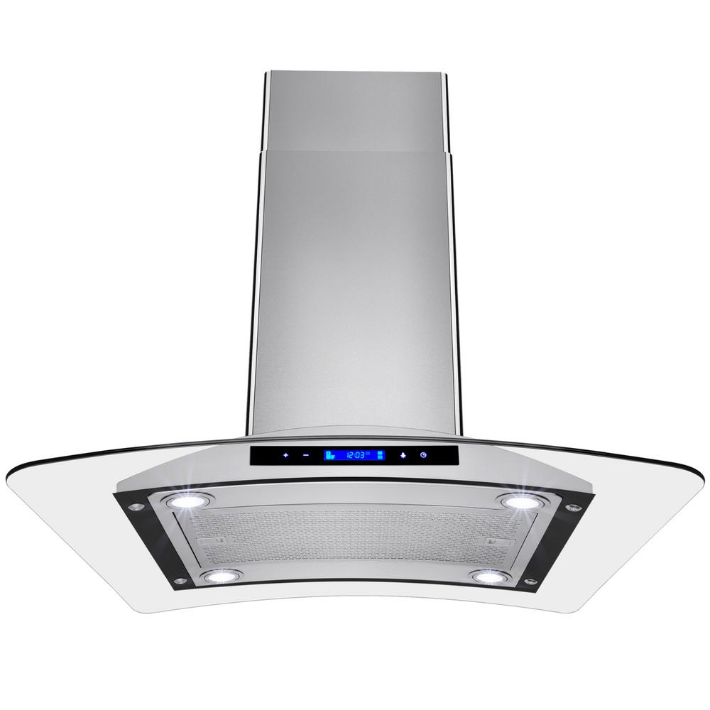 Kitchen Island With Range Akdy 30 In Convertible Kitchen Island Mount Range Hood In Stainless Steel With Tempered Glass And Touch Controls