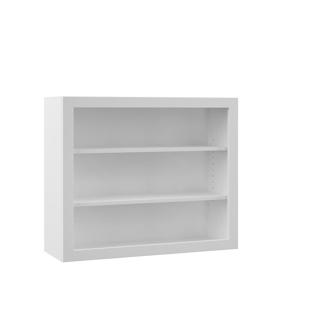Open Cabinet Hampton Bay Designer Series Melvern Assembled 36x30x12 In Wall Open Shelf Kitchen Cabinet In White