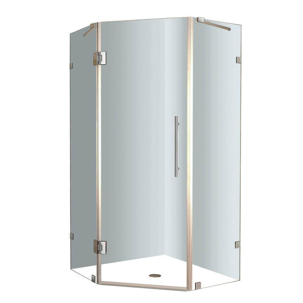 Waschbeckenunterschrank Glas Aston Neoscape 34 In X 34 In X 72 In Frameless Neo Angle Shower Enclosure In Stainless Steel With Clear Glass