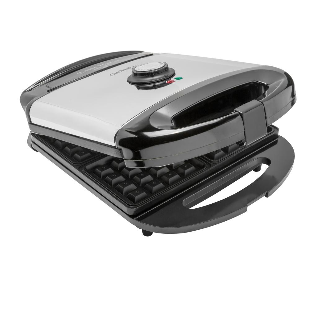 Cucina Kitchen Appliances Classic 4 Square American Waffle Maker In Stainless And Black