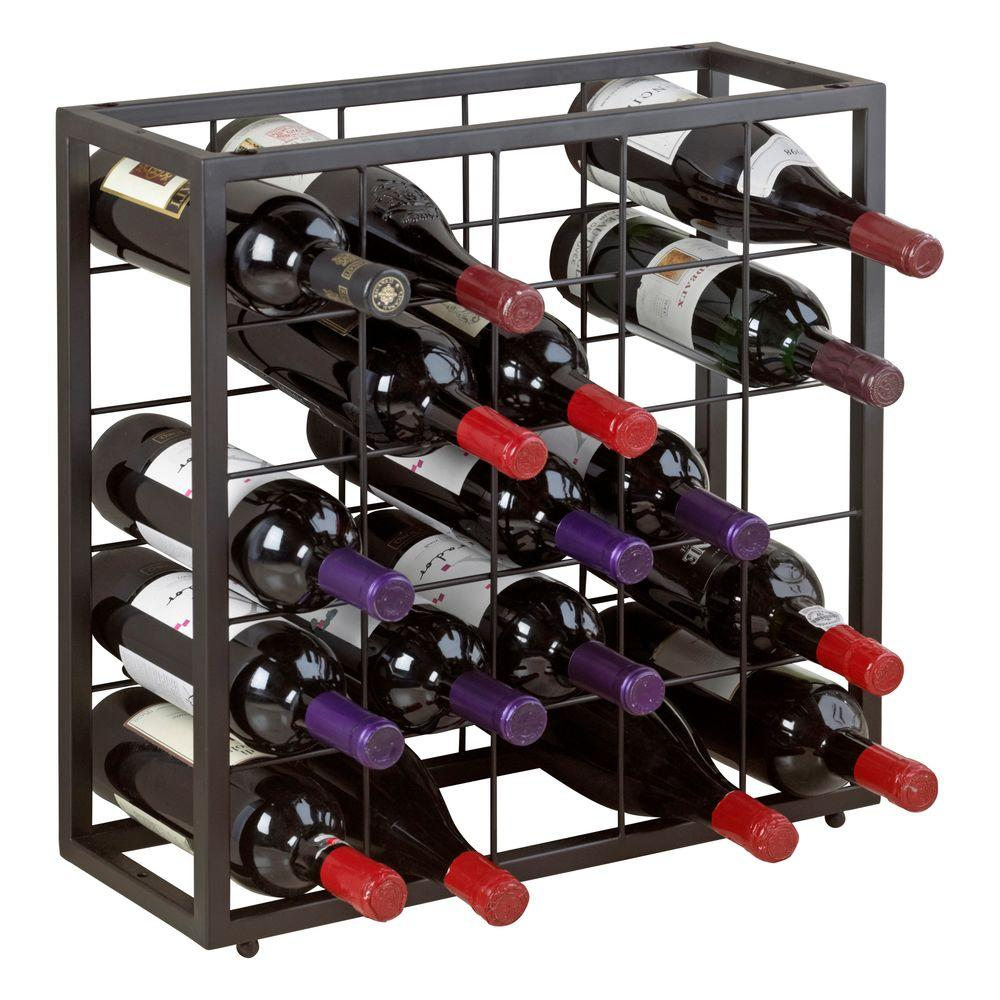 Metal Wine Racks Steel 25 Bottle Stackable Grid In Black