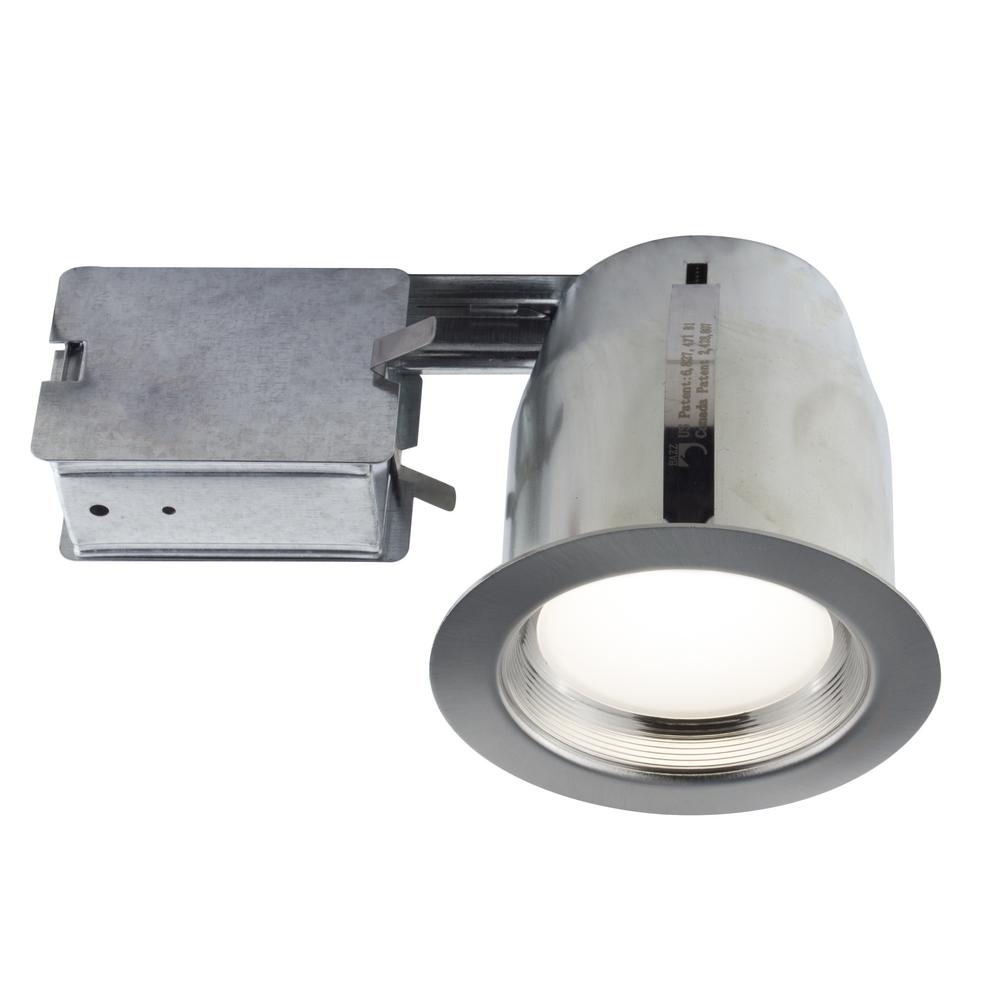 Bathroom Light Fixtures Damp Location Bazz 5 In. Brushed Chrome Intergrated Led Recessed Fixture
