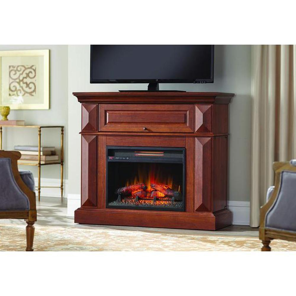 Cherry Fireplace Mantels Home Decorators Collection Coleridge 42 In Mantel Console Infrared Electric Fireplace In Medium Cherry In 36 In H