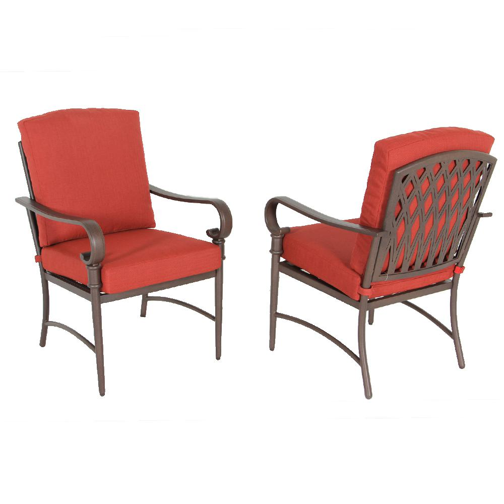Cushion Chair Hampton Bay Oak Cliff Stationary Metal Outdoor Dining Chair With Chili Cushion 2 Pack