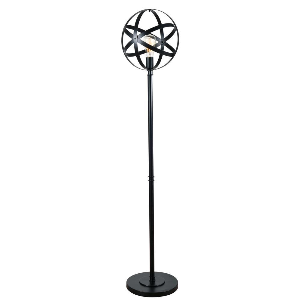 Pedestal Floor Lamps Kenroy Home Global 58 In Black Floor Lamp With Black Metal Shade