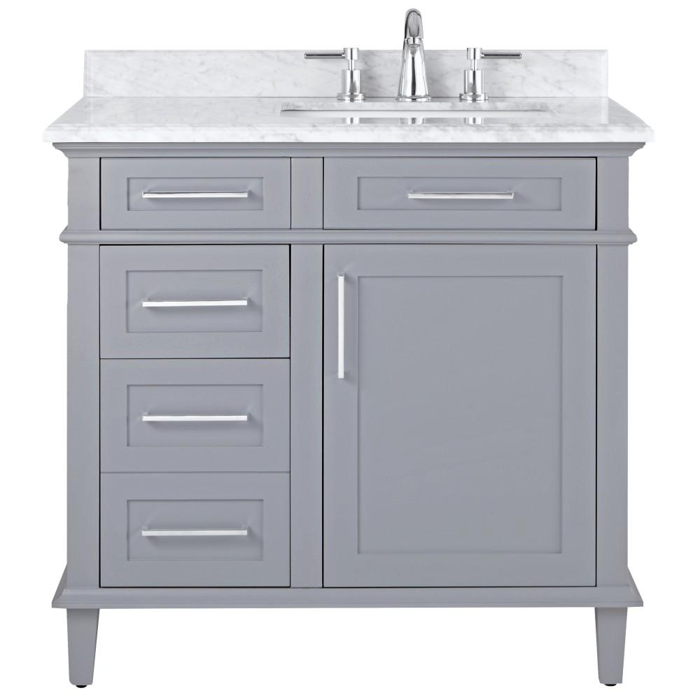 Bathroom Vanities Home Decorators Collection Sonoma 36 In W X 22 In D Bath Vanity In Pebble Grey With Carrara Marble Top With White Sinks