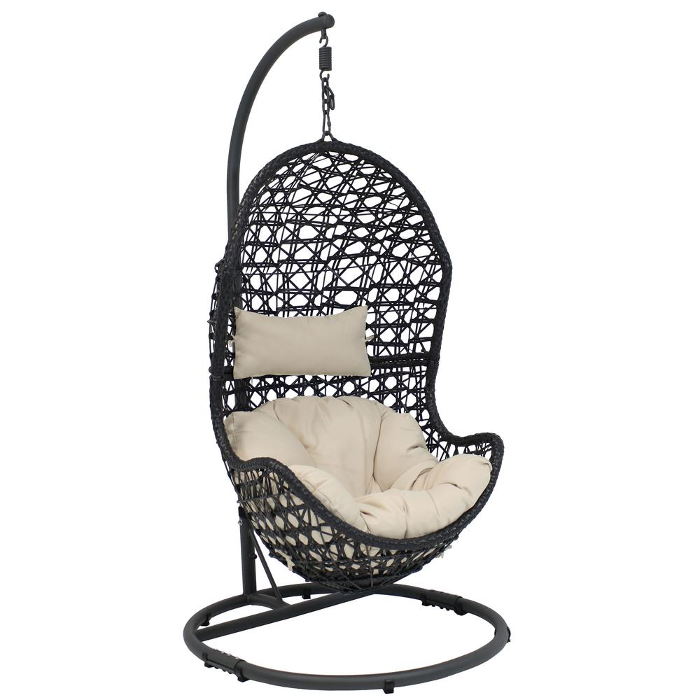 Hanging Outdoor Chairs Sunnydaze Decor Cordelia Wicker Indoor Outdoor Hanging Egg Patio Lounge Chair With Stand And Beige Cushions