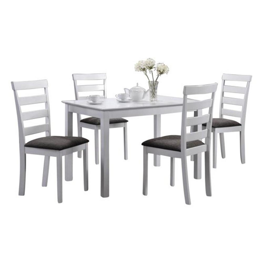 Modern Dining Room Furniture Indoor Black And White Ladder Back 5 Piece Dining Set With A Solid Rectangular Dining Table