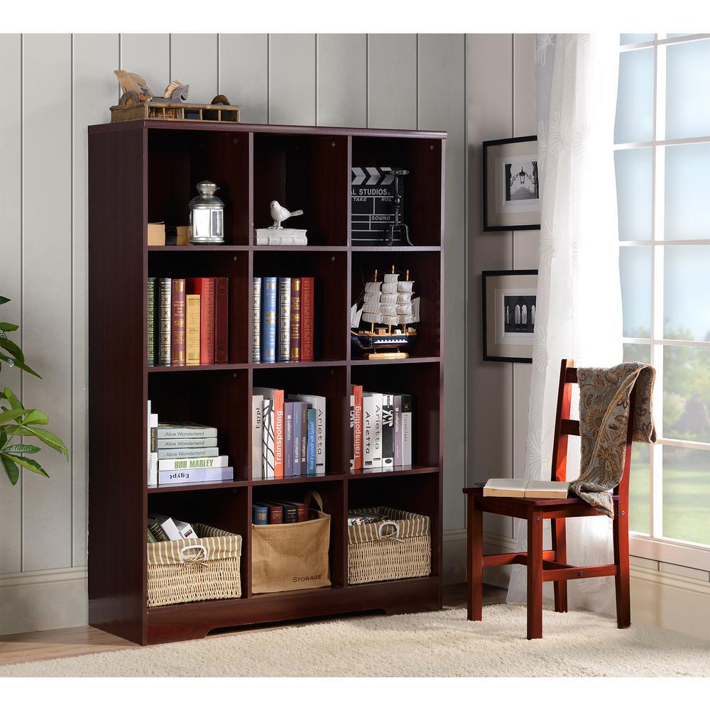 Large 12 Cube Storage Organizing Bookcase In Espresso 139
