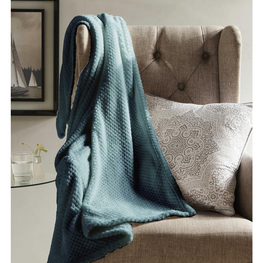 Throw Blankets Myrcella Slate Blue Textured Fleece Throw