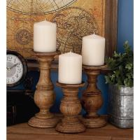 Rustic Stained Mango Wood Candle Holder (Set of 3)-51536 ...