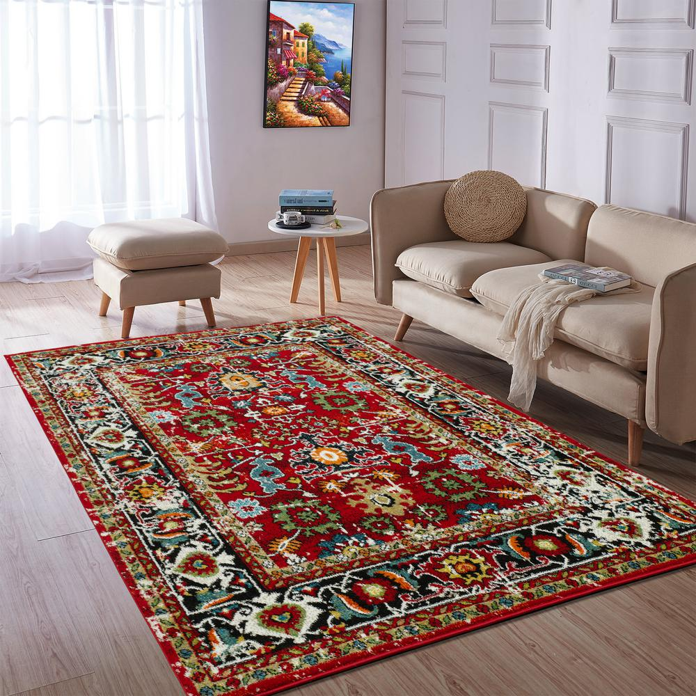Modern Living Room Persian Rug City Collection Red Oriental 5 Ft X 7 Ft Indoor Area Rug