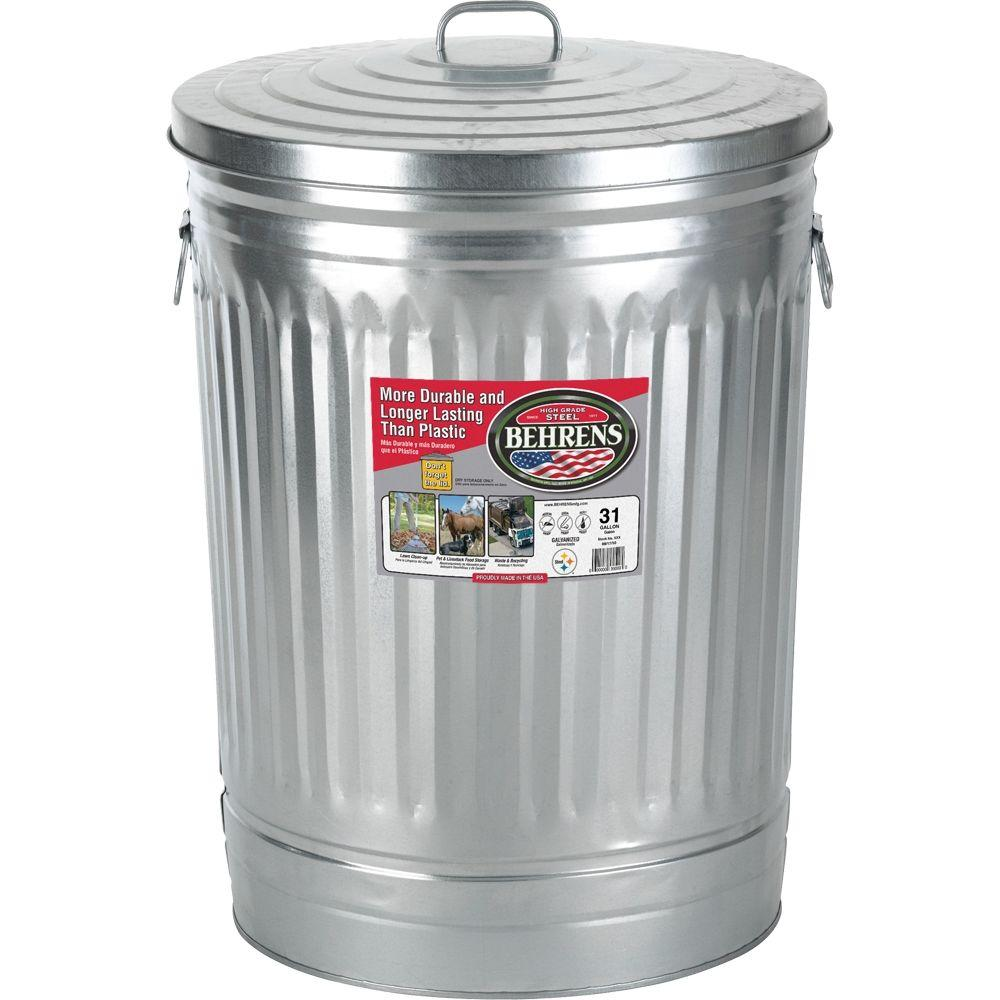 Colorful Garbage Cans Behrens 31 Gal Galvanized Steel Round Trash Can With Lid