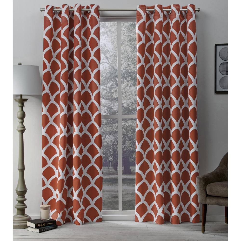 Orange Curtain Panels Durango 52 In W X 108 In L Woven Blackout Grommet Top Curtain Panel In Mecca Orange 2 Panels