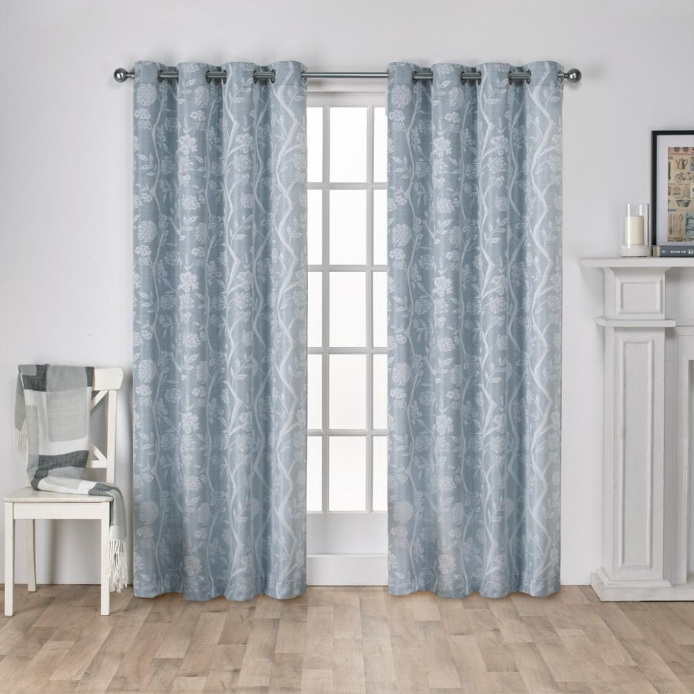 Teal Silver Curtains Lamont 54 In W X 84 In L Jacquard Grommet Top Curtain Panel In Steel Blue 2 Panels