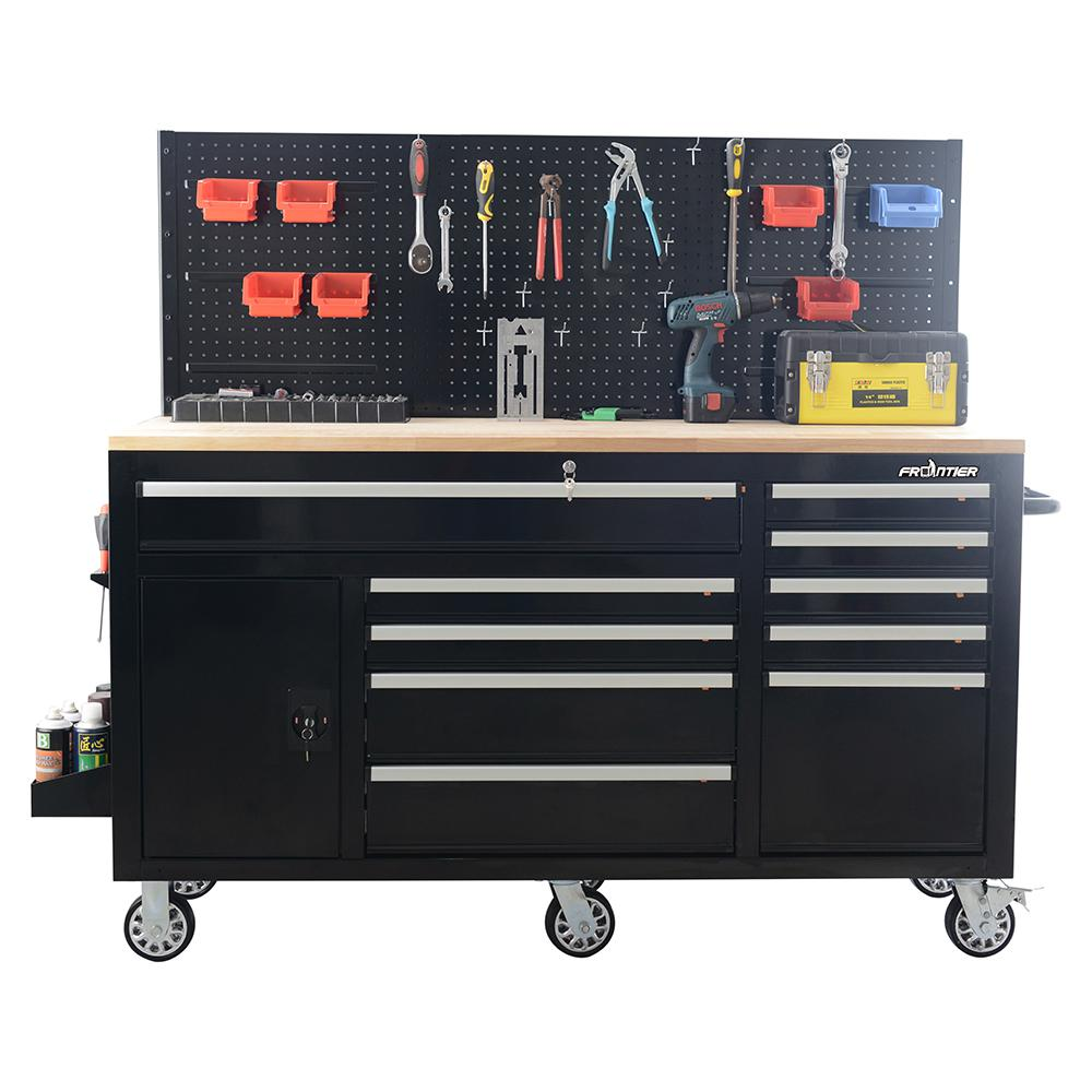 Peg Board Canada 62 In 10 Drawer Tool Chest Cabinet With Pegboard Back Wall Heavy Duty Mobile Workbench In Black