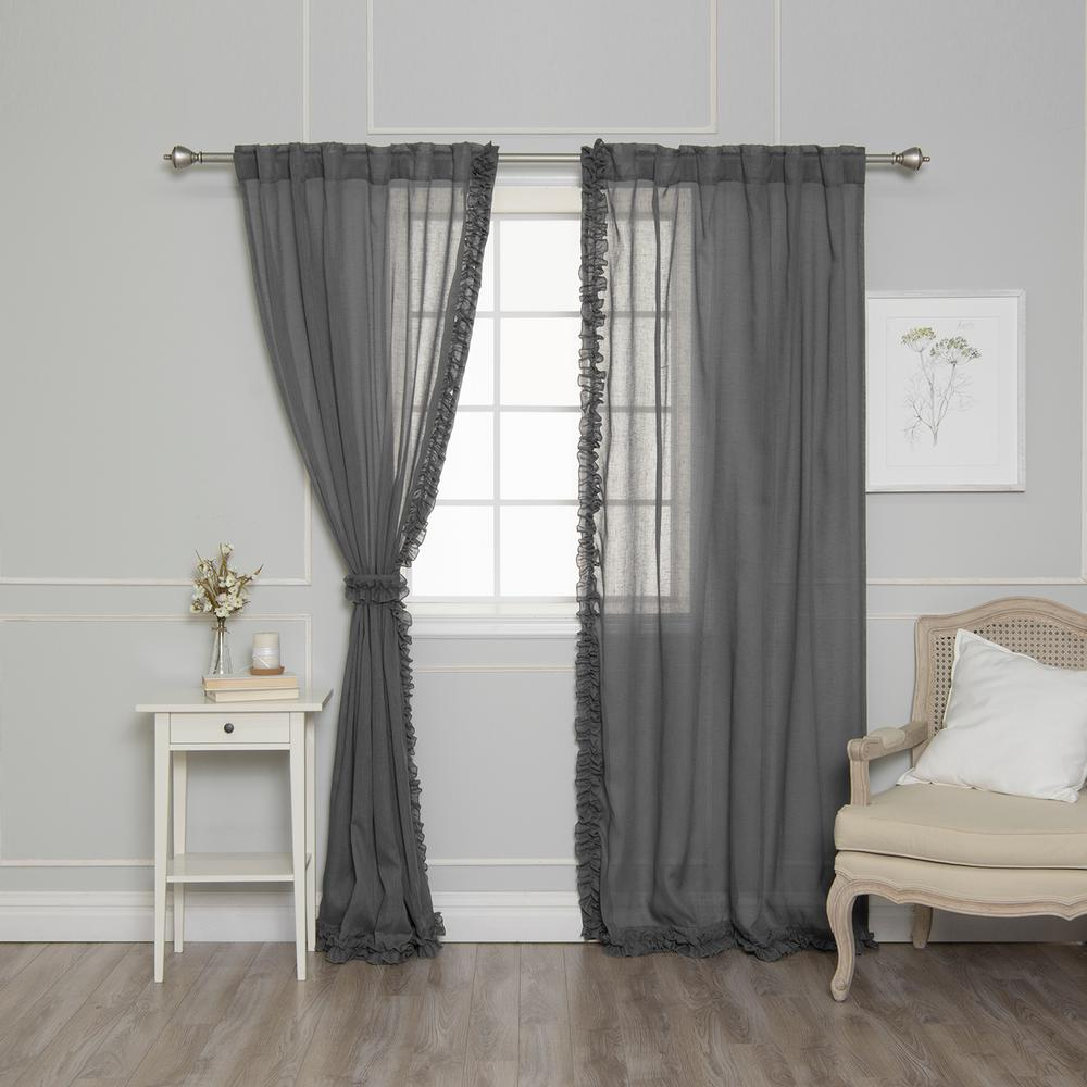Ruffle Curtain Panel Best Home Fashion 84 In L Dark Grey Faux Linen Charleston Small