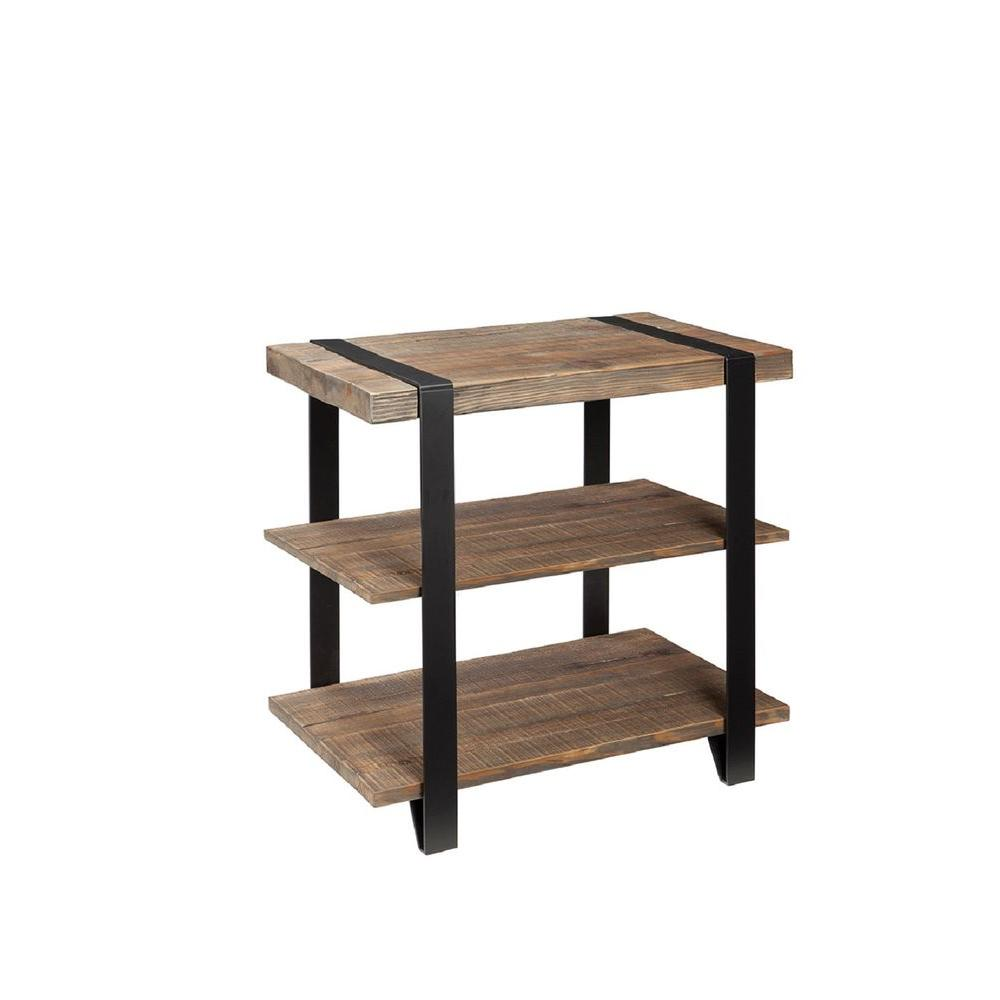 Rustic Wood End Table Modesto Natural Storage End Table