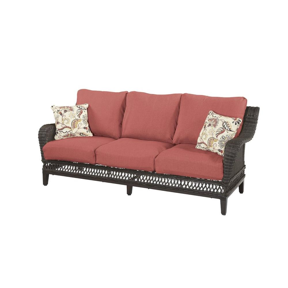 Sofa S Hampton Bay Woodbury Wicker Outdoor Patio Sofa With Chili Cushion