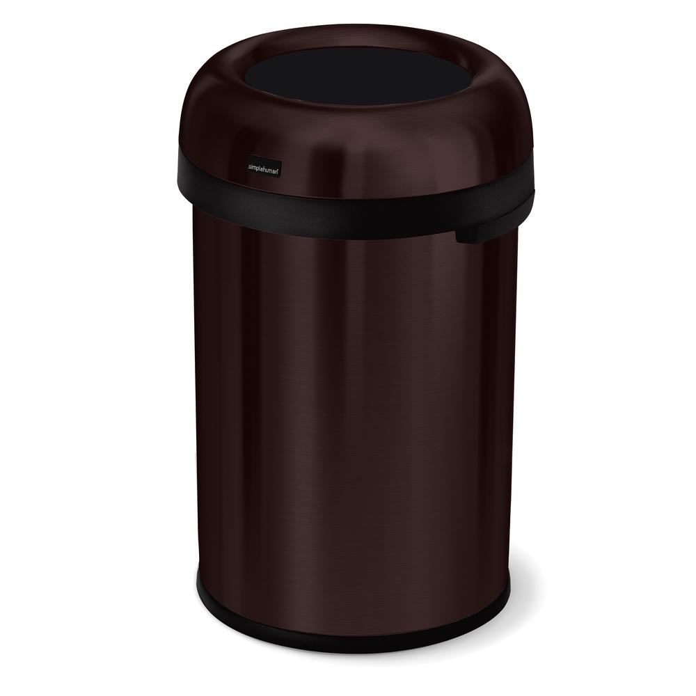 Copper Trash Can With Lid 30 4 Gal Dark Bronze Heavy Gauge Stainless Steel Bullet Round Open Top Commercial Trash Can