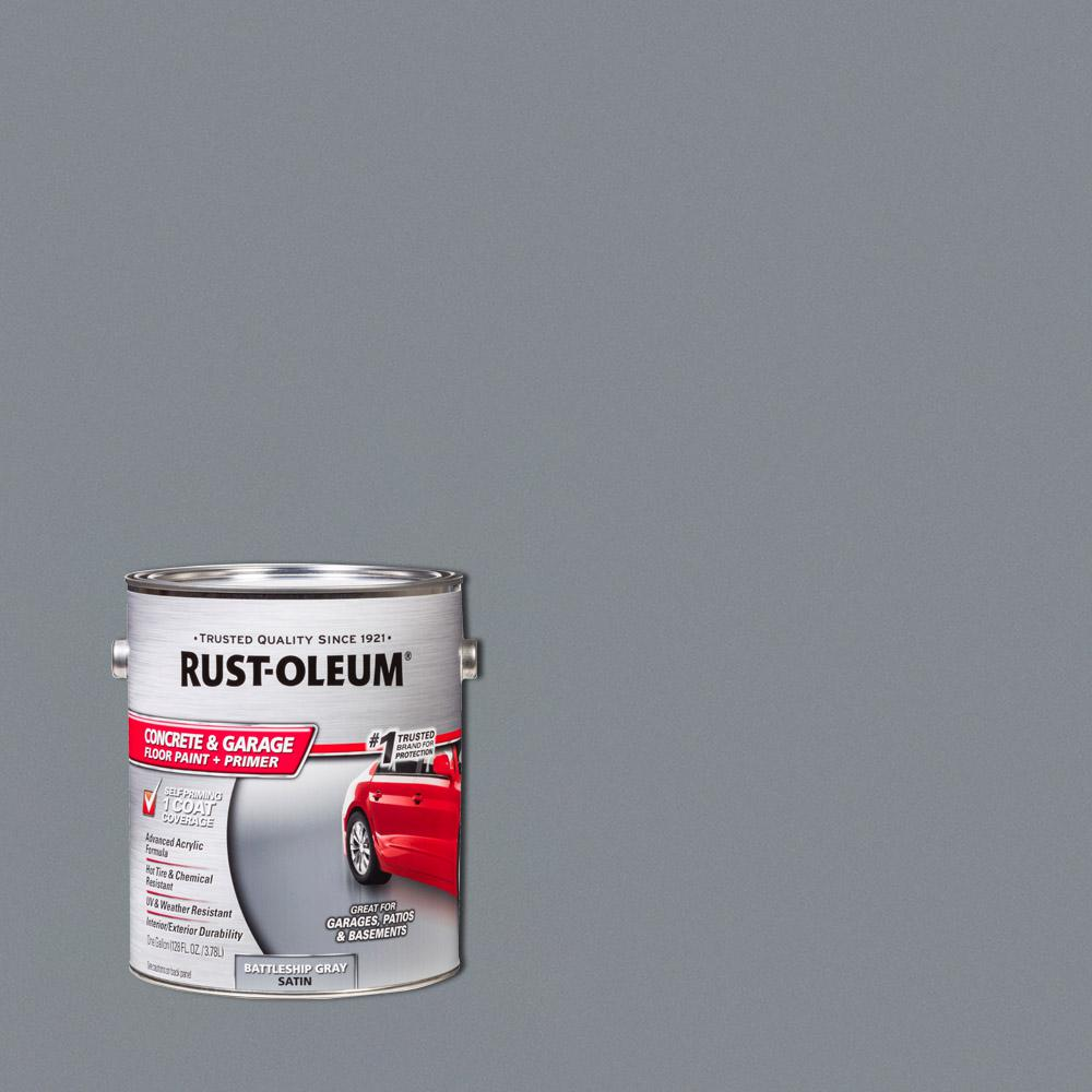 Garage Floor Paint In Basement Rust Oleum 1 Gal Battleship Gray Satin Concrete Floor Interior Exterior Paint 2 Pack