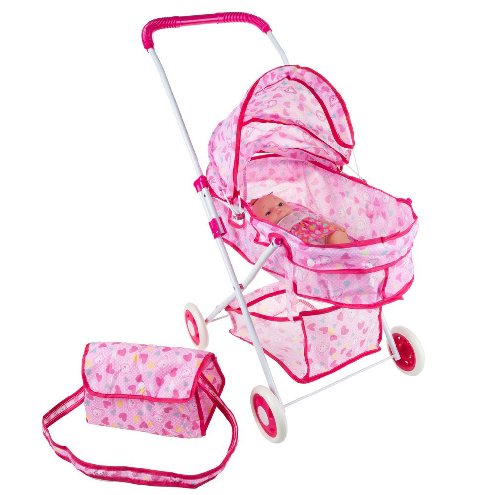 Infant Dolls Pram Hey Play Deluxe Baby Doll Toy Pram With Diaper Bag