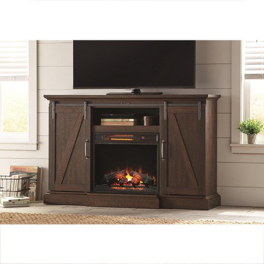 Fireplace Tv Stand Home Depot Home Decorators Collection Chestnut Hill 56 In Tv Stand Electric Fireplace With Sliding Barn Door In Rustic Brown