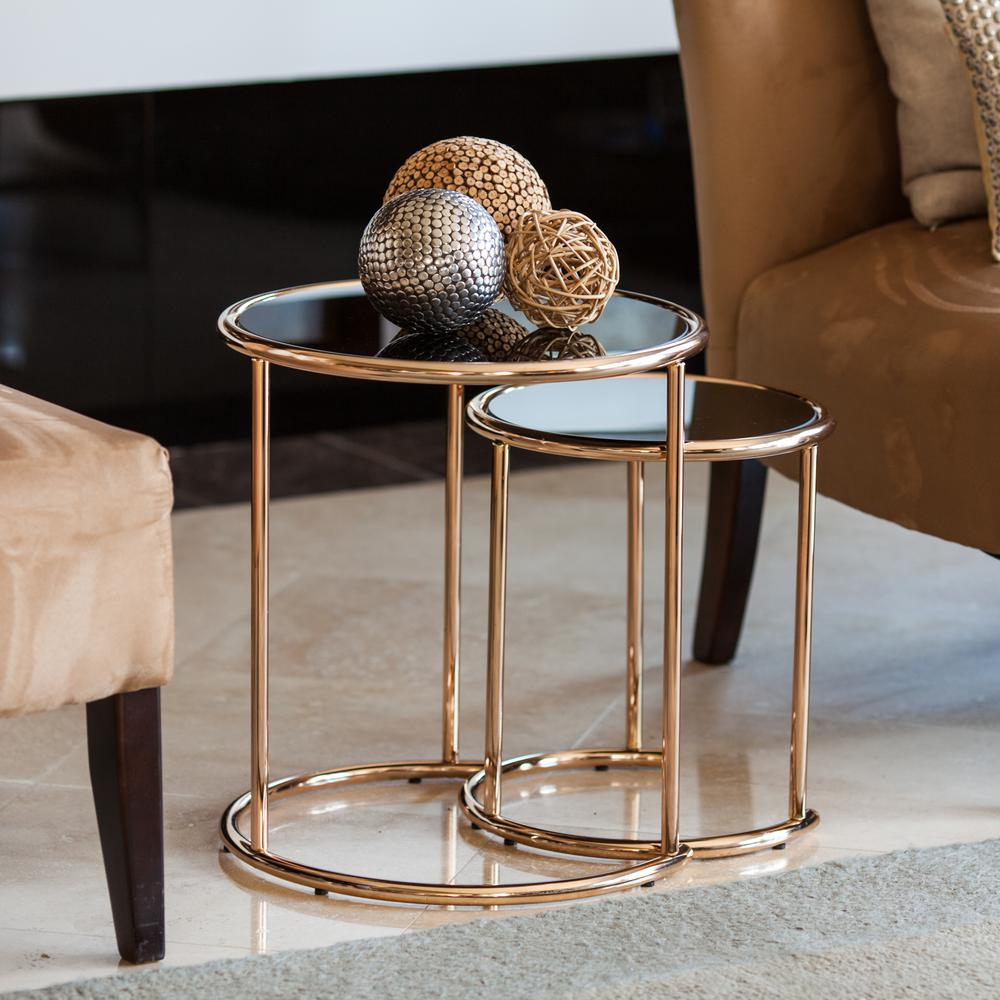 Gold Nesting Coffee Table Danya B Rose Gold Metal Frame And Black Glass Top Nested Round End Tables Set Of 2