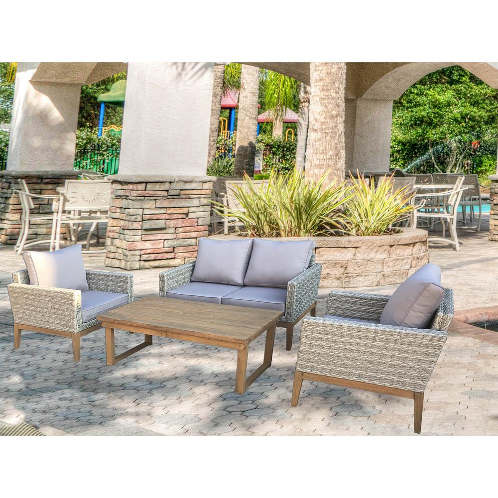 Baptist 6 Piece Rattan Sofa Set With Cushions S Dente Portofino 4 Piece Wicker Patio Conversation Set With Multi Function Table And Light Grey Cushions