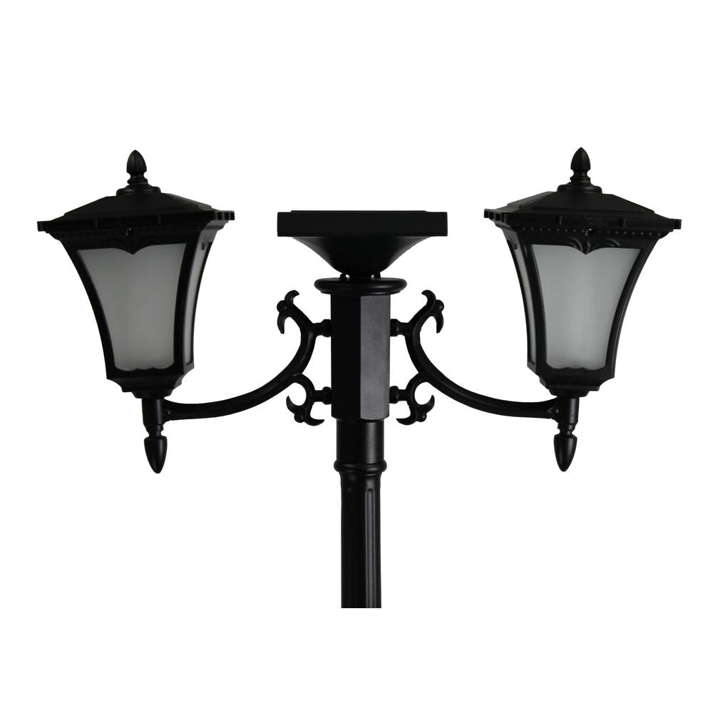 Solar Lamp Post Sunray Vittoria 2 Light Outdoor Black Integrated Led Solar Lamp Post And Planter