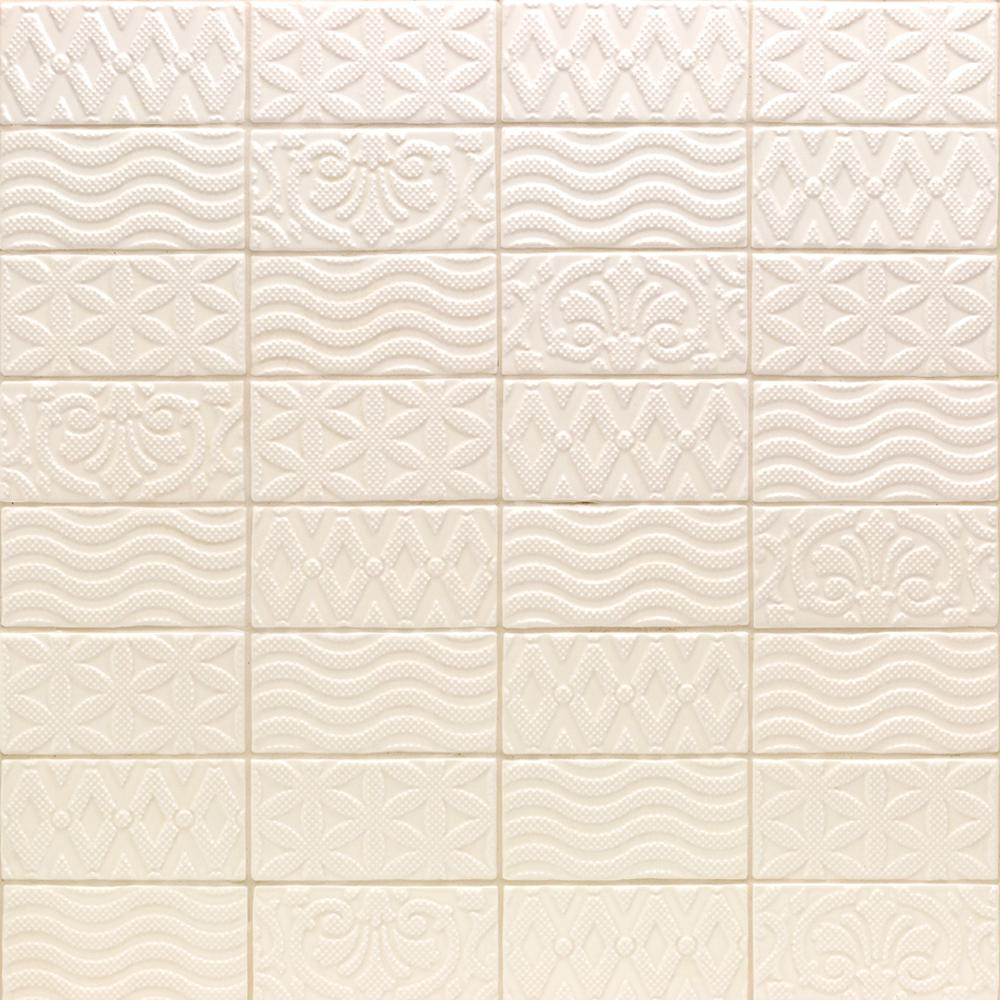 Mix And Match Deco Ivy Hill Tile Catalina Deco Vanilla 3 In X 6 In X 8 Mm Ceramic Wall Subway Tile