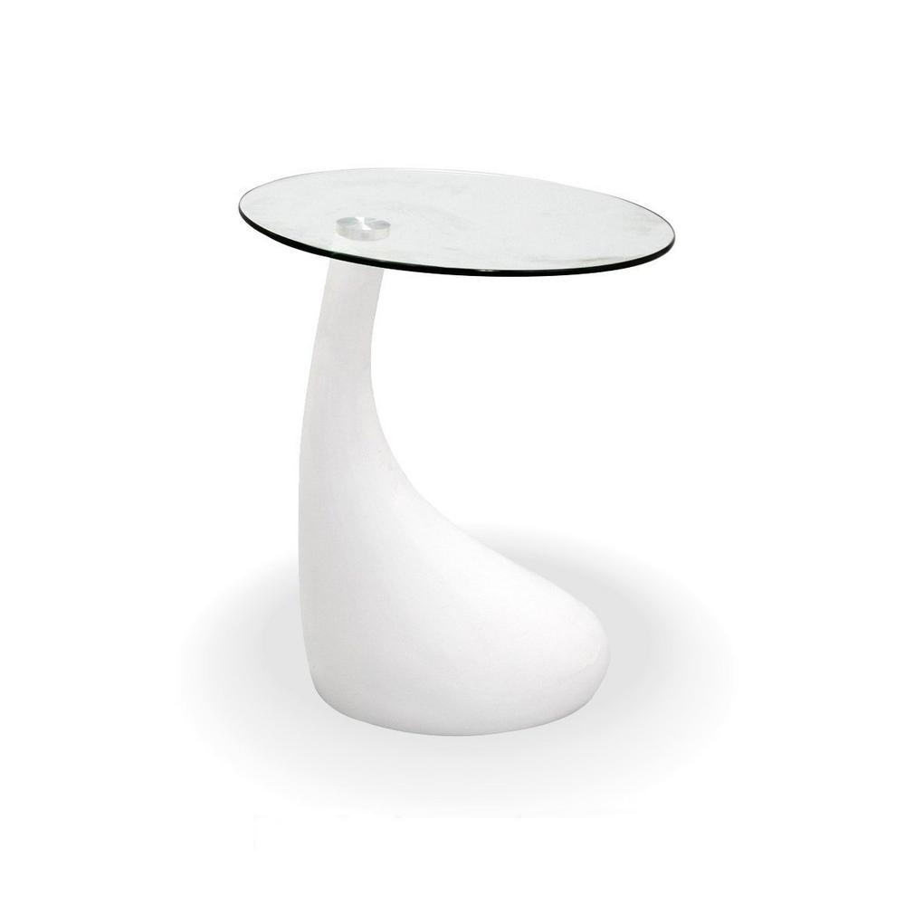 Coffee And Side Tables Fab Glass And Mirror Teardrop Side Table White Color With 18 In Round Glass Top