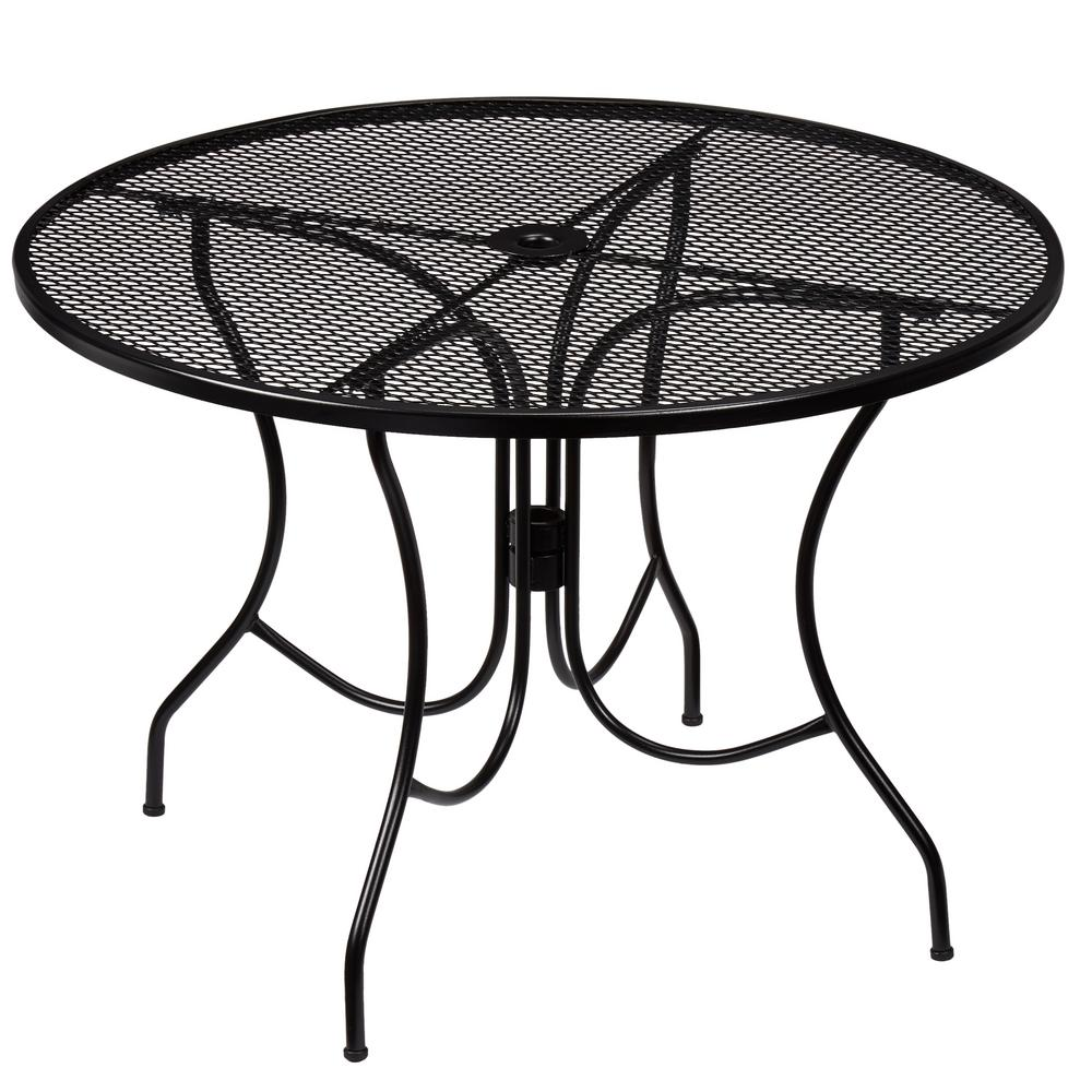 Metal Table Hampton Bay Nantucket Round Metal Outdoor Dining Table