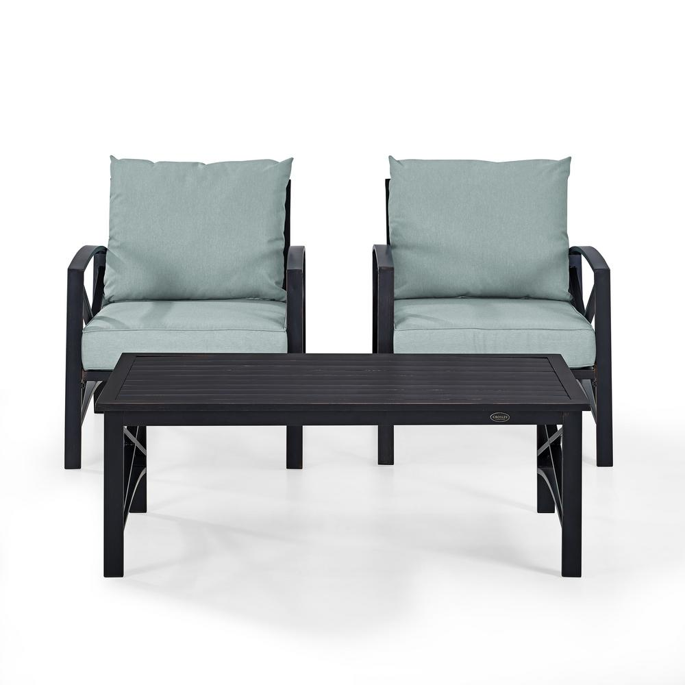 Bz Futon Crosley Kaplan 3 Piece Metal Patio Outdoor Seating Set With Mist Cushion 2 Outdoor Chairs Coffee Table