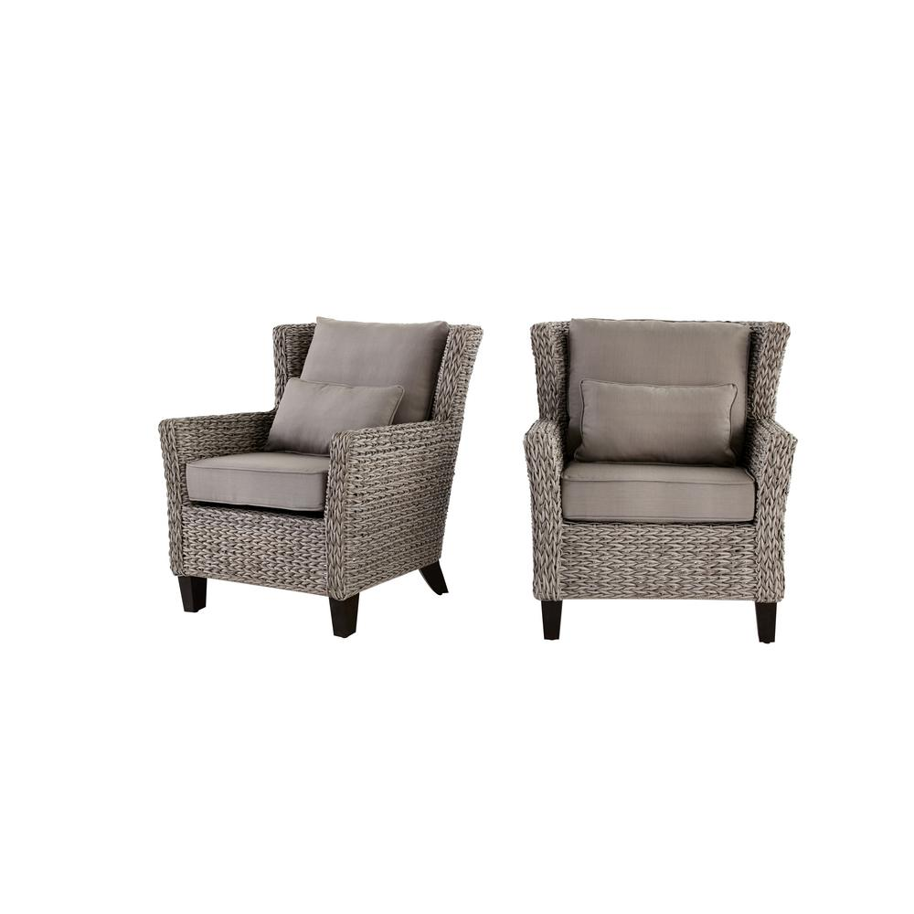 Outdoor Lounge Hampton Bay Megan Grey All Weather Wicker Outdoor Lounge Chair With Cushion 2 Pack