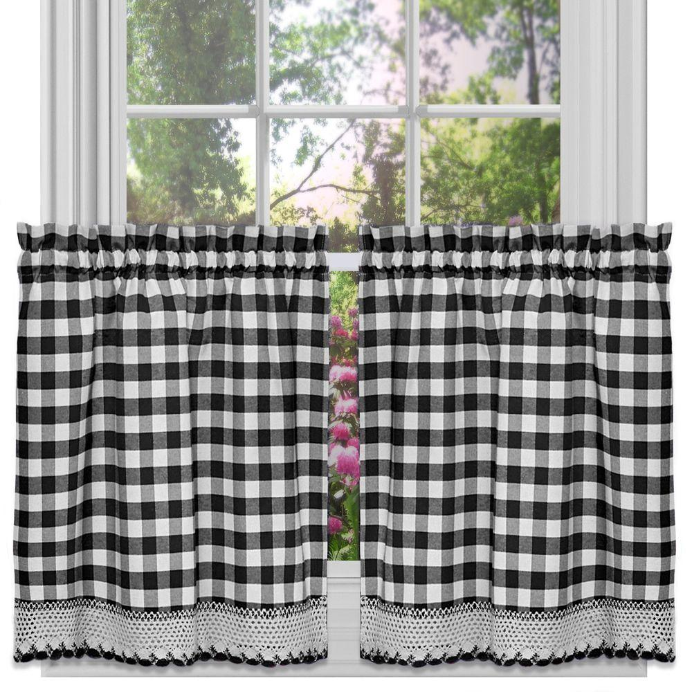 24 Inch Kitchen Curtains Achim Semi Opaque Buffalo Check Black Poly Cotton Tier Pair Curtain 58 In W X 24 In L