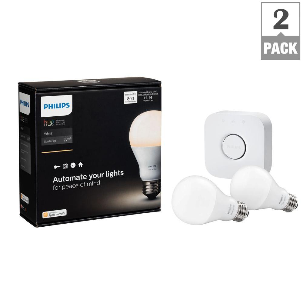 Hue Pack Philips Hue White A19 Led 60w Equivalent Dimmable Smart Wireless Lighting Starter Kit 2 Bulbs And Bridge