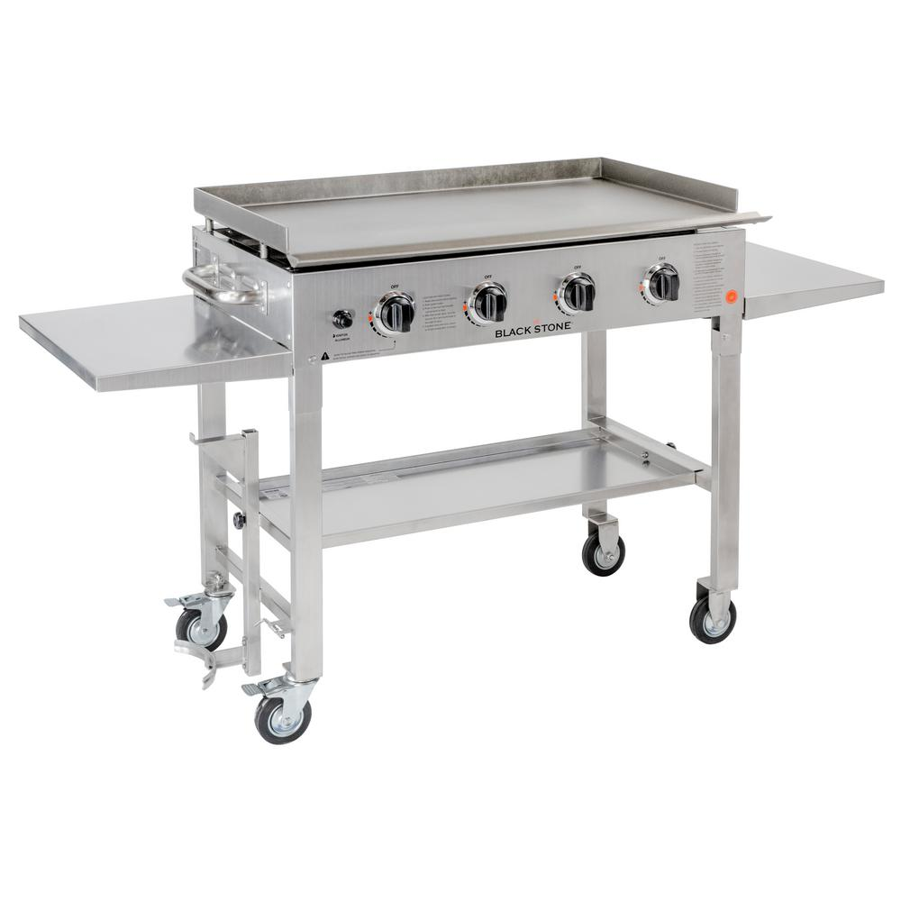 Outdoor Grill Blackstone 36 In 4 Burner Propane Gas Grill In Stainless Steel With Griddle Top
