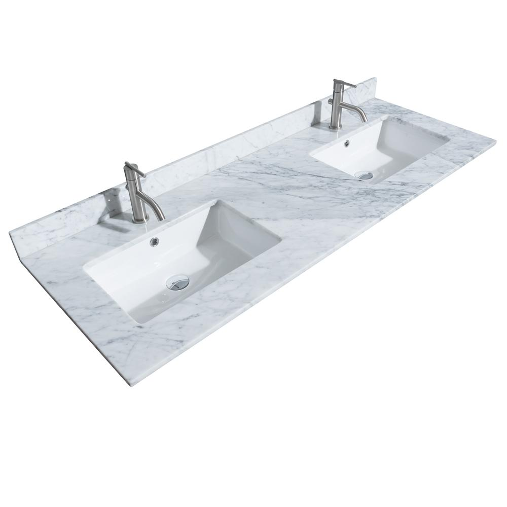 Marble Basin Wyndham Collection Hatton 60 In W X 22 In D Marble Double Basin Vanity Top In White With White Basin