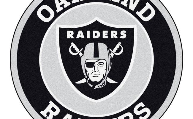 Fanmats Nfl Oakland Raiders Black 2 Ft Round Area Rug 17970 The Home Depot