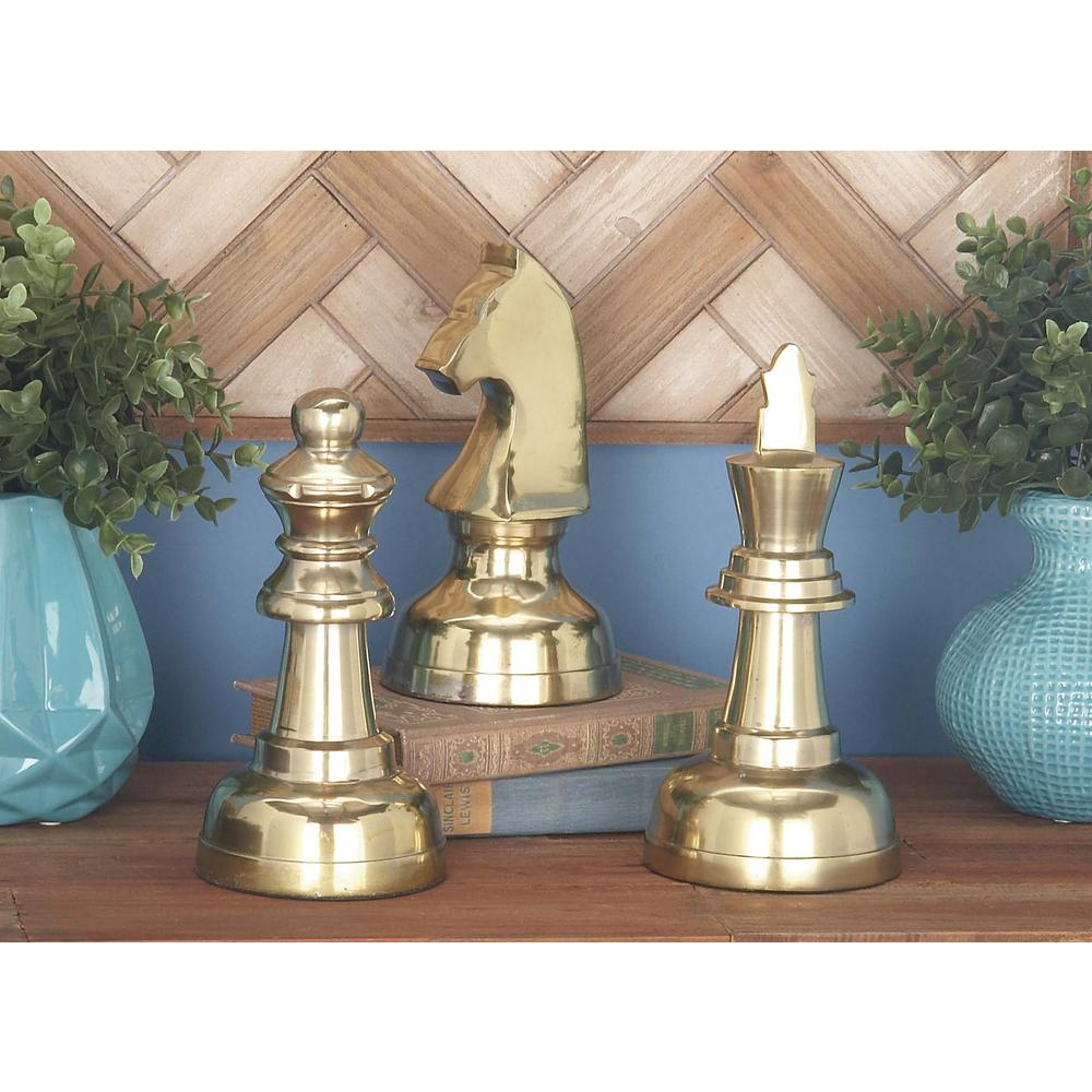 Gold Chess Pieces 9 In X 4 In Decorative Aluminium Chess Pieces Sculpture In Polished Gold Set Of 3