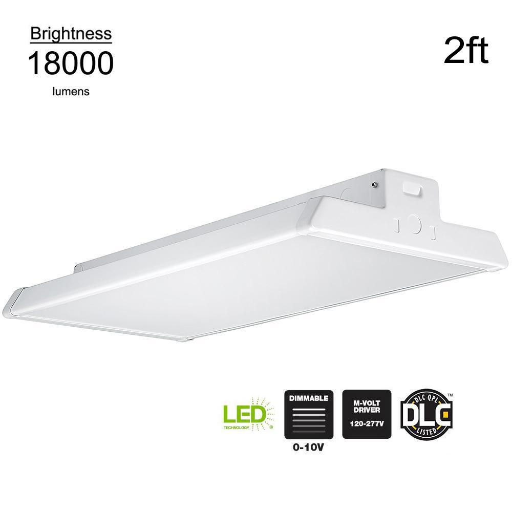 ??led Commercial Electric 2 Ft 400 Watt Equivalent White Integrated Led Linear High Bay