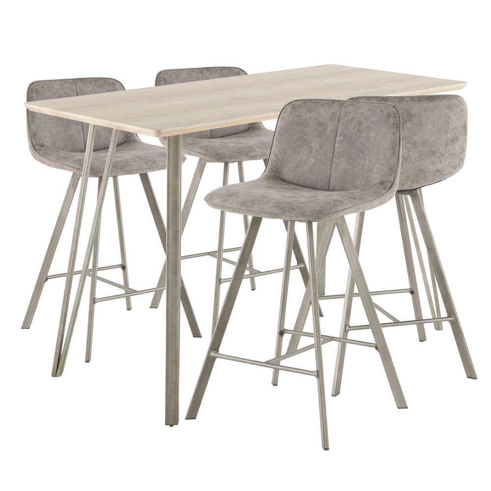 Fabric Counter Height Bar Stools Lumisource Sedona 5 Piece Antique Metal Light Brown Wood And Grey Fabric Counter Height Dining Set