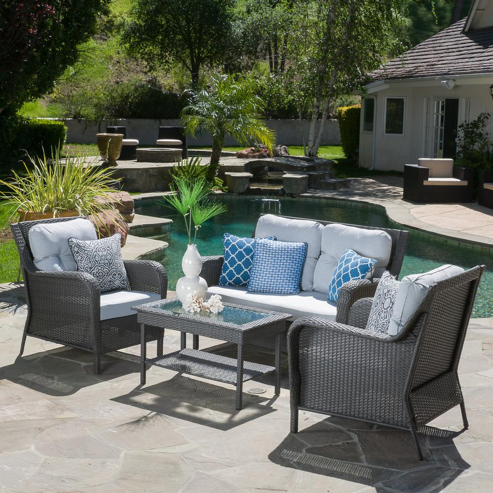 Baptist 6 Piece Rattan Sofa Set With Cushions Noble House Savona Grey 4 Piece Wicker Patio Conversation Set With Mixed Grey Cushions